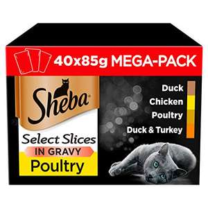 Sheba Select Slices in Gravy, Poultry Selection for Adult Cats 40 x 85 g Pack - £10 Amazon Prime /£9.50 Subscribe and Save /£14.49 Non Prime