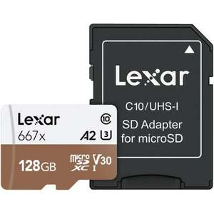 Lexar 128GB Professional Micro SD (SDXC) Card UHS-I U3 A2 + Adapter - 100MB/s - £21.99 delivered @ MyMemory