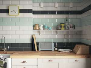 Wickes Metro Mint Green Ceramic Wall Tile 200 X 100mm - £5 per square metre (Free Delivery over £75 or £7.95)