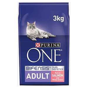 12 kg (4x3kg) Purina ONE Adult Dry Cat Food Salmon and Wholegrain £8.22 (+£4.49 non-prime) @ Amazon