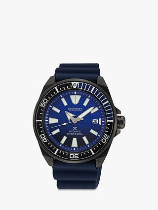 Seiko Samurai SRPD09K1 Men's Save The Ocean Date Automatic Silicone Strap Watch, Navy - £258 @ John Lewis & Partners