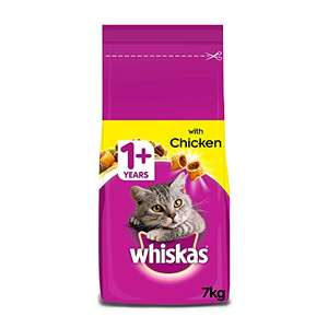 Whiskas 1+ Dry Cat Food for Adult Cats with Chicken, 1 Bag (1 x 7 kg)£13.99 + £4.49 NP ( £10.49 S&S and 20% voucher) @ Amazon