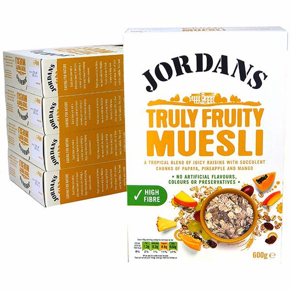 5 X Jordans Truly Fruity Muesli 600G Boxes £5 delivered @ Yankee Bundles (BBE 19/08/2020)