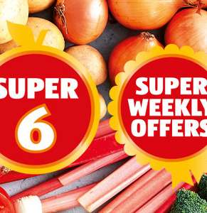 Flat Peaches or Jersey Royal Potatoes 500g £0.49 / Red Gem Lettuce x 2 or Spring Onions 39p @ Aldi
