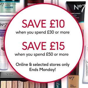 £10 off £30, £15 off £50 spend on No7 Plus 3 for 2 plus Free Gift on £40 Spend Plus Free Delivery or C&C From Boots