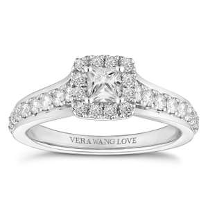 Vera Wang 18ct White Gold 0.69ct Princess Cut Halo Ring £1499 at Ernest Jones