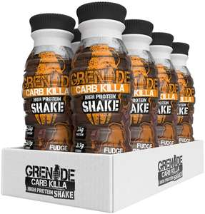 Grenade Carb Killa High Protein Shake Fudge Brownie, 8 x 330ml £3.60 (+ £4.49 Non Prime) @ Amazon