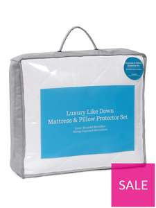 Hotel Collection Luxury Like Down Mattress and Pillow Protector Set - Single £11 free click and collect at Very