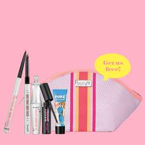 Free 6 piece benefit fun size bundle worth over £31 on a £60 spend using code + 2 Free samples + Free delivery @ benefit Cosmetics