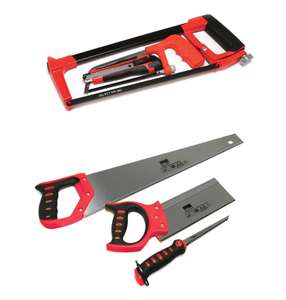 Hilka 3pc Hacksaw & Knife Set for £7 or Hilka 3pc Soft Grip Saw Set for £10 @ Robert Dyas (free click and collect)