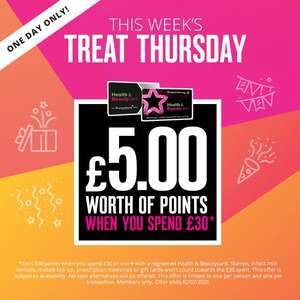 £5 worth of points when you spend £30 @ Superdrug