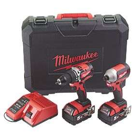 Milwaukee 18V Brushless Combi Drill, Impact Driver, 2 x 5Ah Batteries, Charger and Case - £249.99 Click & Collect @ Screwfix
