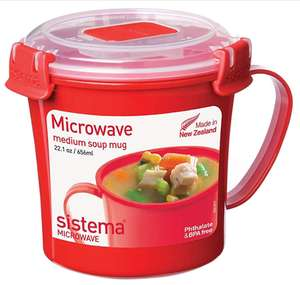 Sistema Microwave Soup Mug, 656 ml - Red/Clear - £2.50 Prime / £6.99 non prime @ Amazon