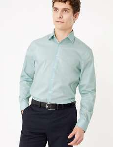 "M&S COLLECTION Slim Fit Cotton Shirt with Stretch in ""Dusted Mint"" £7 at Marks & Spencer"