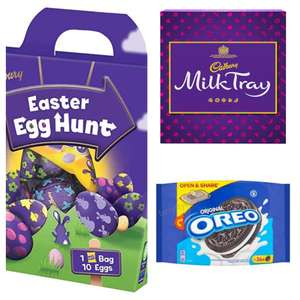 Past/short BBE - Oreo Cookies 396g £1 / Cadbury Egg Hunt Pack 176g £1 / Cadbury Milk Tray 360g £1.99 in-store @ Cadbury Lowry Outlet