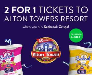 Alton Towers 2 for 1 Tickets Seabrook Crisps Promotion Is Back LIMITED TIME only @ Seabrook Crisps