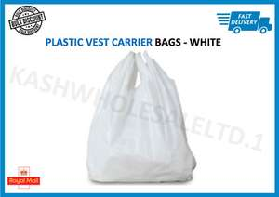 100 x white plastic vest carrier bags 10x15x18 - £1.79 @ kashwholesaleltd.1 / eBay