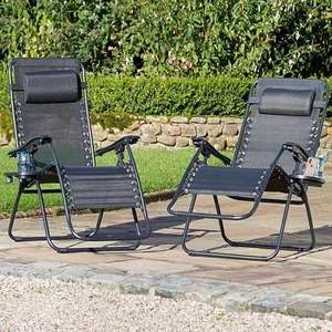 Pair of Royale garden Loungers with Pillow and Cup/Mobile Holder £53.48 at Studio