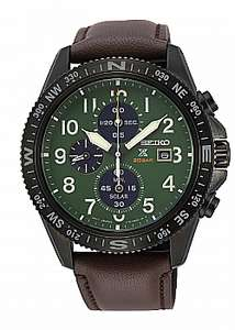 Seiko Mens Prospex Solar Green Chronograph Dial Black Leather Strap Watch £140 (£140 for the green dial) at AMJ Watches