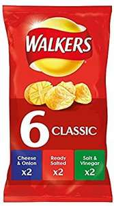 Walkers Classic Variety 6 Pack (2x Salt & Vinegar, 2x Ready Salted, 2x Cheese & Onion) - £1.24 Prime / £5.73 Non-Prime @ Amazon