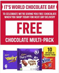 Celebrate world chocolate day - Free chocolate when you shop today for next day delivery @ Iceland
