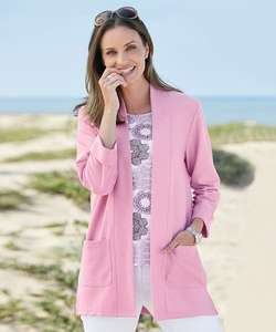 Longline Open Front Cardigan Pink Lilac £8.55 with code Plus Free Delivery From Damart