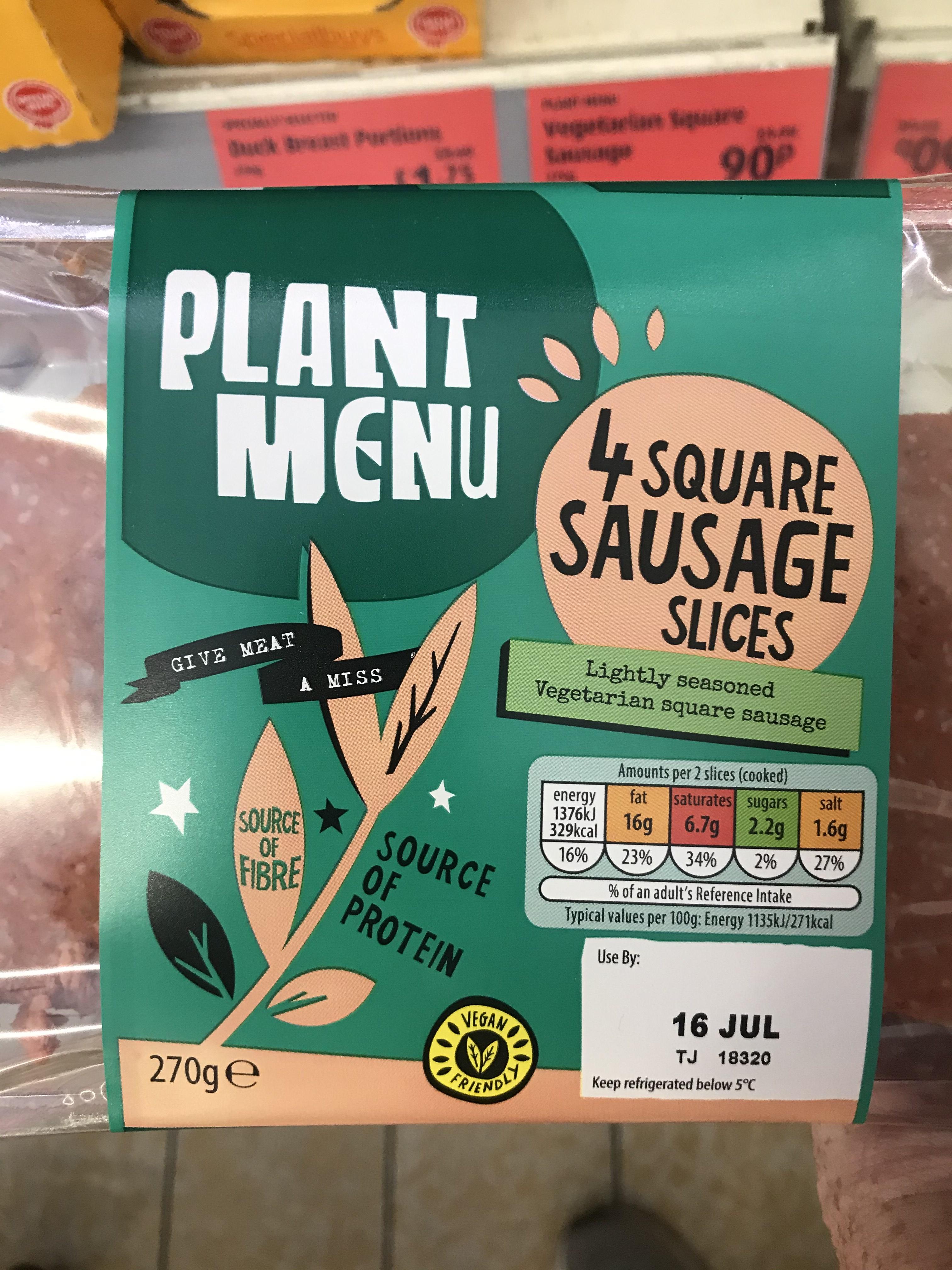 Plant Menu (4 square sausages) £0.90 instore at Aldi Cambuslang