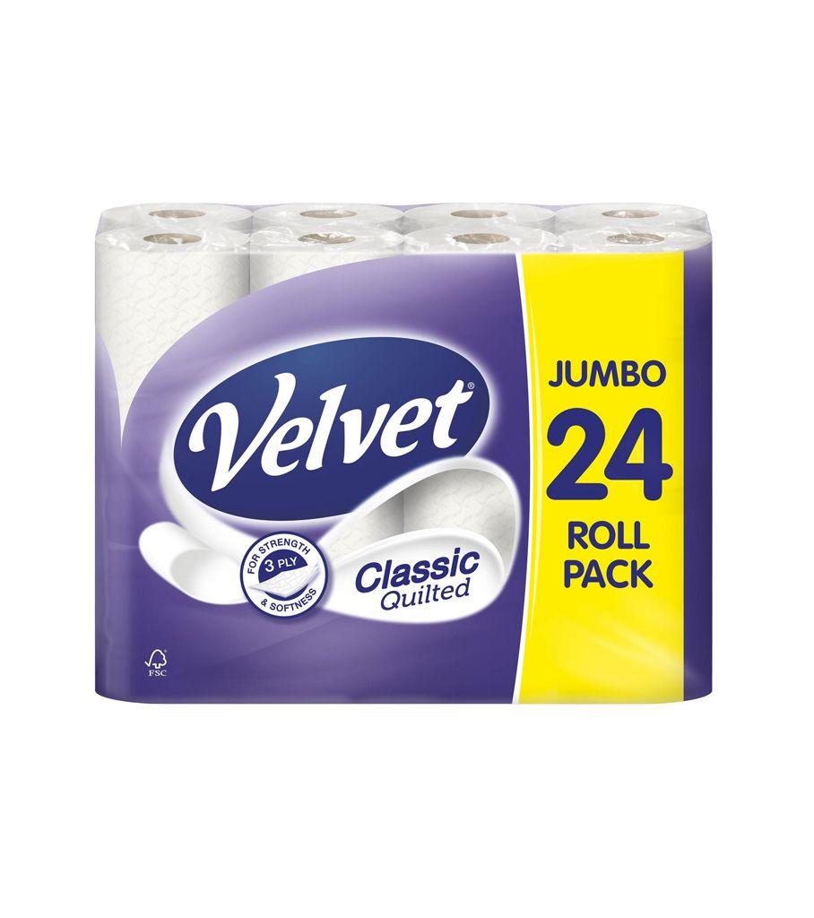 24 x Velvet Comfort Quilted 3 ply Jumbo Toilet Rolls - £6 @ Iceland