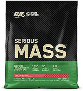 Optimum Nutrition Serious Mass Protein Powder with Vitamins, Creatine and Glutamine, Strawberry, 5.45 kg £40.95 / £37.34 s&s at Amazon