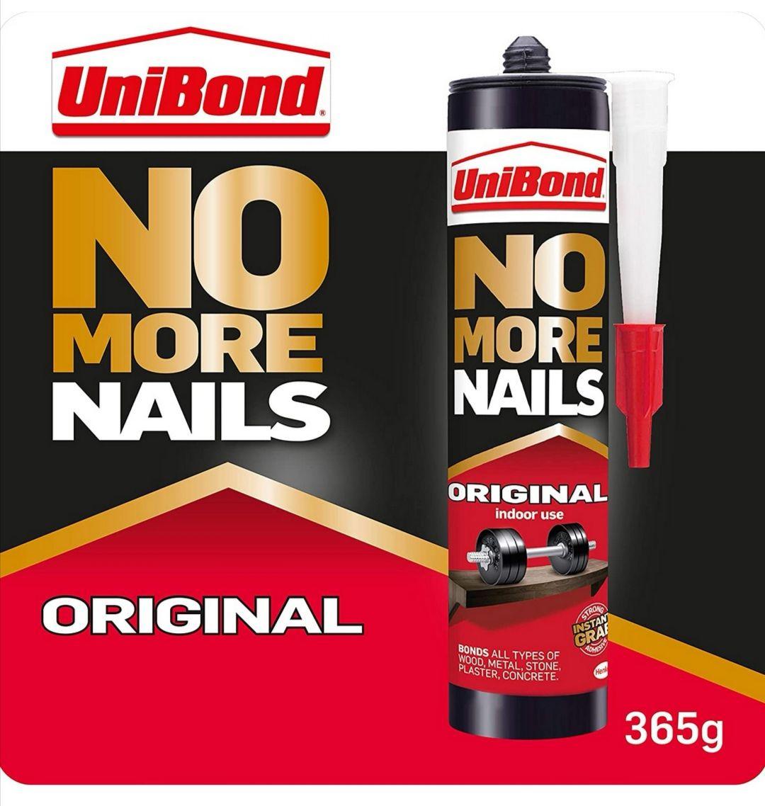 UniBond No More Nails Original, Heavy-Duty Mounting Adhesive, 1 x 365g Cartridge - £3.50 Prime / +4.49 Non Prime @ Amazon