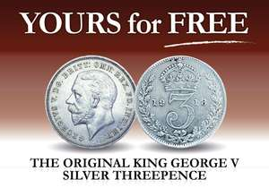 Free king George V silver threepence for coin collecting with £2.50 postage @ London mint office
