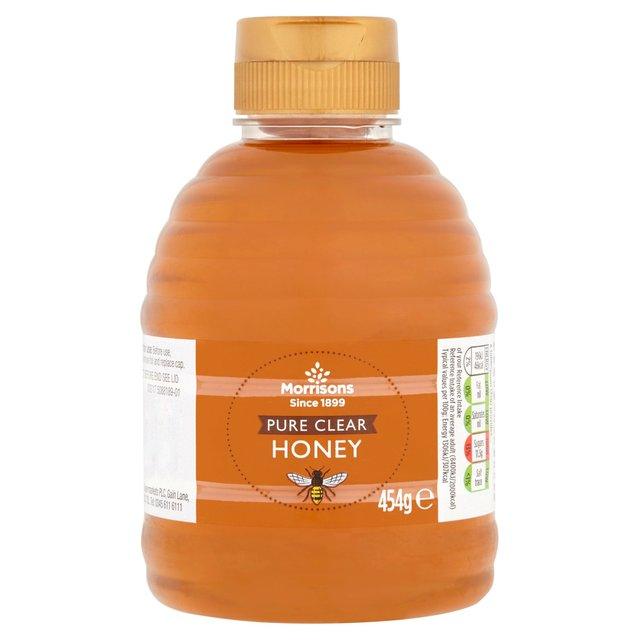 Morrisons Pure clear honey, 454g squeezable bottle £1.25 (Milton Keynes Store)