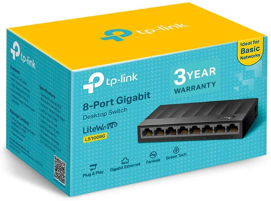 TP-Link LS1008G 8-Port Desktop/Wallmount Gigabit Ethernet Switch/Hub/Splitter - £13.49 (Prime) / £17.98 (Non Prime) delivered @ Amazon