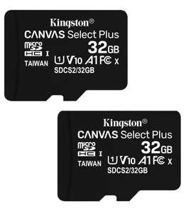 2 x 32GB Kingston Canvas Select Plus - microSDHC Card UHS-I, U1, V10, A1, 100MB/s + 1 SD Adapter - £6.99 Delivered (Lifetime Warranty)@ Base
