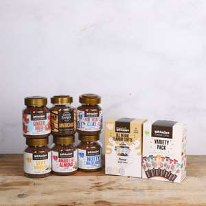 6 full size Beanies Coffee Jars Bundle + 12 stick variety pack + 3 sachets of All-in-One Variety Pack - £15 + Free delivery @ Beanies + more