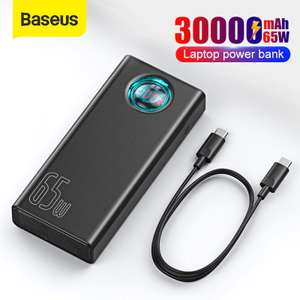 Baseus Power Bank Portable Charger 30000mAh 65W PD Quick Charge 3.0 + 100W E-Mark USB Type C Cable £36.77 @AliExpress / Baseus Co Ltd Store