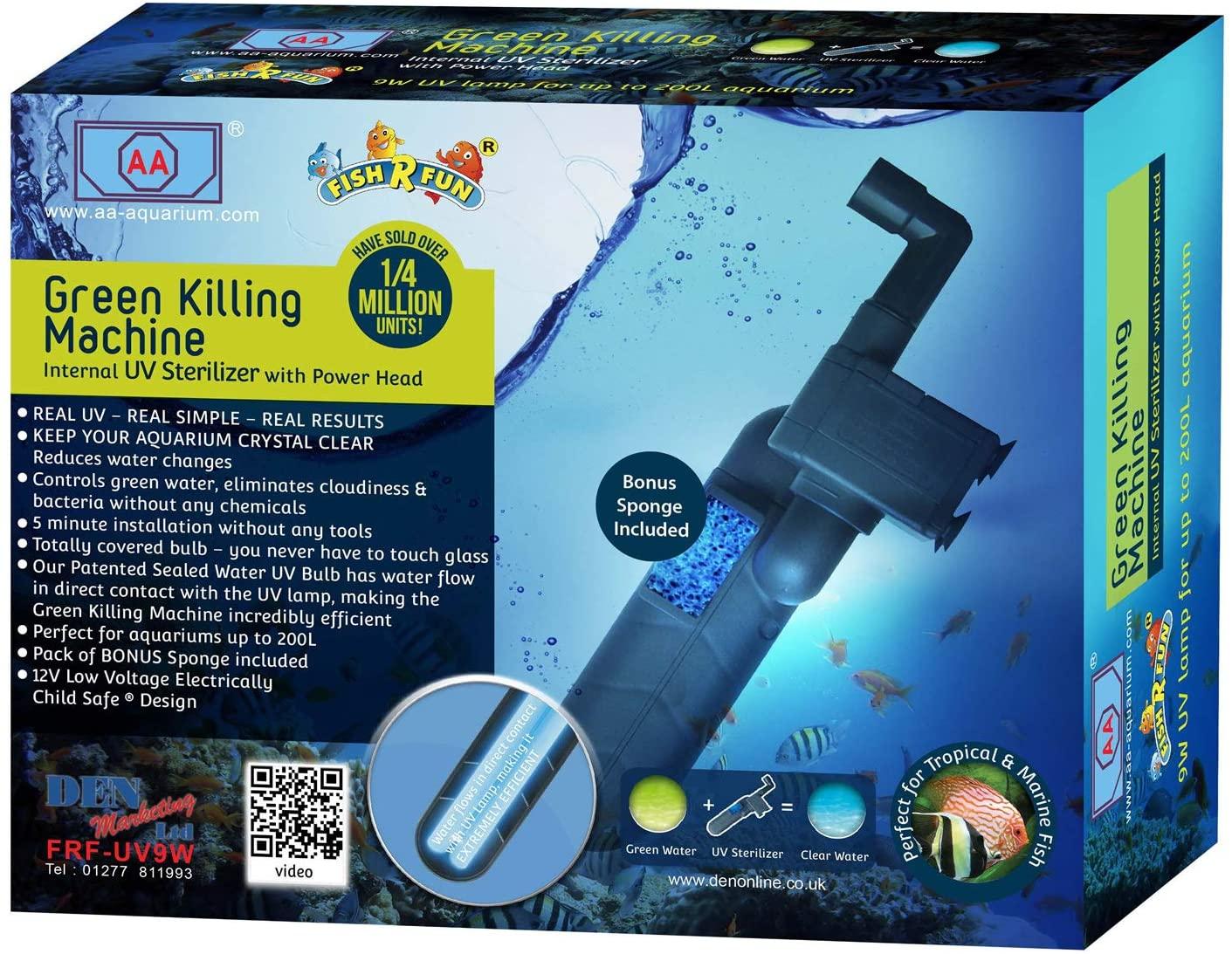 Fish 'R' Fun Green Killing Machine Internal UV Sterilizer with Power Head, 9W Upto 200 Litre £30.73 Amazon