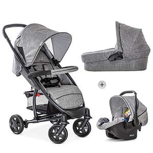 Hauck Malibu 4 Trio Set 3 in 1 Pushchair (<18 kg) + Group 0 Car Seat + Carrycot, Compact Folding - Melange Grey £199.95 Amazon