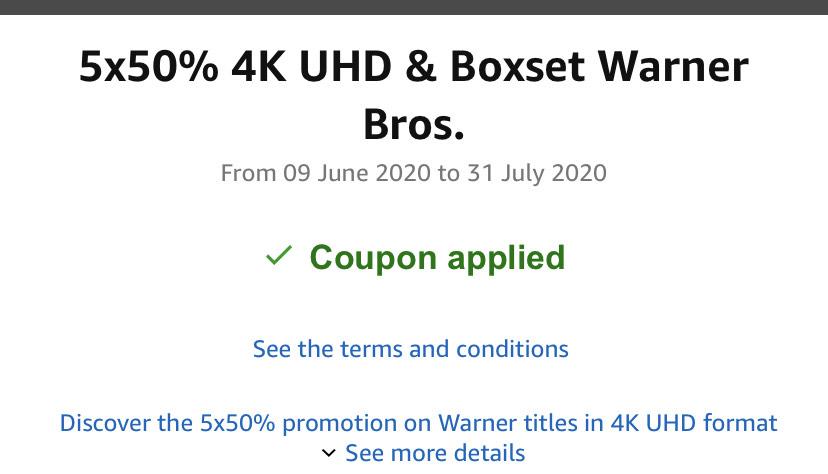 5x50% 4K UHD & Boxset Warner Bros @ Amazon.it