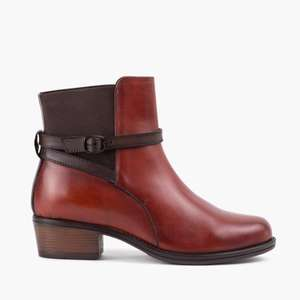 Woman's Cheryl Mahogany Leather Ankle Boot £25 Redfoot Shoes