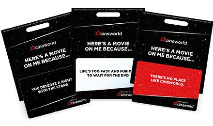CINEWORLD - Free £5 voucher for every £25 spent on gift vouchers