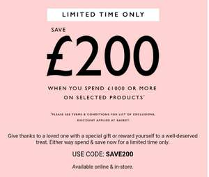 Save £200 when spending £1000 or more on selected products at Ernest Jones