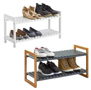Home 2 Tier Shoe Rack (White) or 2 Tier Bamboo Shoe Rack (Grey) for £11 @ Argos (free click and collect)