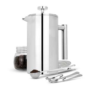 1L French Press Cafetiere Set - Cafetiere, Filters, Spoons and Clip - £14.99 + Free Delivery Using Code @ Roov