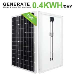 ECO-WORTHY 100 Watts 12 Volts Monocrystalline Solar Panel for £63.31 - Sold by XXK and Fulfilled by Amazon.
