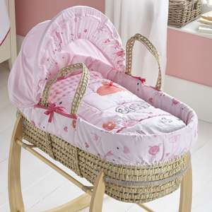 Clair De Lune Palm Moses Basket And Rocking Stand - Tippy Toes Pink or Forty Winks Blue £45.90 Delivered From Online4baby
