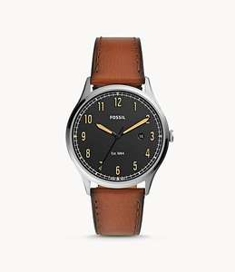 Forrester Three-Hand Date Luggage Leather Watch now £36 with code Delivered free from Fossil