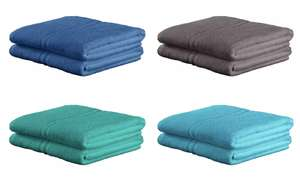 Home Pair of Bath Sheets (Blue, Crystal, Teal or Grey) 100% Cotton, L140, W90, 450 GSM - x2 for £5 + free click and collect @ Argos