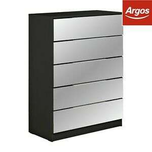 Argos Home Sandon 5 Drawer Chest - Black, with Mirrored Front £96.95 delivered @ Argos