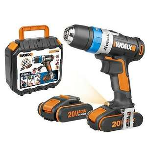WORX WX178.1 18V (20V MAX) AI Cordless Drill Driver with x Two 2.0Ah Batteries, Charger and Case - £89.99 at Worx/Ebay